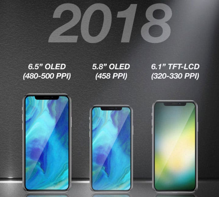 En 2018, dos iPhone con display OLED y uno con LCD